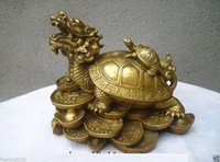 Wholesale Dragon Fans - lucky Chinese handwork Bronze Fengshui Dragon Turtle Statue