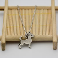 Wholesale Chihuahua Party - New Fahsion Cute Chihuahua Dog Pendant Long Chain Necklace Boho Vintage Silver Animal Pet Women Mens Maxi Necklace Colar Jewelry Party Gift