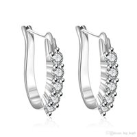 ingrosso gioielli in pietra di zircone-Orecchini in argento sterling 925 gioielli in argento placcato gioielli moda orecchini a forma di U orecchio intarsiato zircone pietra orecchini geometrici bellezza regali