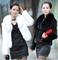 Wholesale Mink Fur Shorts - Warm autumn and winter women fur coat black large fur collar long-sleeve mink hair design short outerwear plus sizes S-5XL