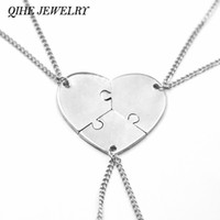 Wholesale Heart Jigsaw Necklace - Wholesale-QIHE JEWELRY 3 Pcs Heart Puzzle Jigsaw Necklace Set of 3 Puzzle Pieces Charm Mother Daughter Sister Best Friend Necklace Jewelry