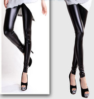 Wholesale High Waist Leather Hot Pants - Wholesale- Free shipping 1 Pcs Fashion Style Women Sexy Wet Look Shiny Faux Leather Leggings Pants High Waist Pants Hot