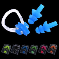 Wholesale colour clip - Waterproof Soft Silicone Swimming Set Nose Clip With Ear Plug Earplug With Box Asssorted Colours DHL Free Shipping