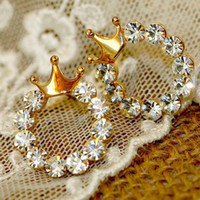 Wholesale New Fashion Women Elegant Crystal Rhinestone Crown Bow Gold Plated Ear Stud Earring Gift