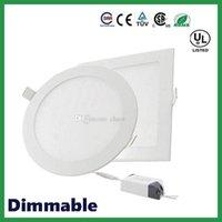 dimmable conduziu luz de teto redonda venda por atacado-DHL frete grátis Dimmable Rodada Quadrado Painel de LED Luzes 6 W 9 W 12 W 15 W 18 W 21 W 30 W 4-5-6-7-8-9-12 Polegada Recesso LEVOU Luz de teto