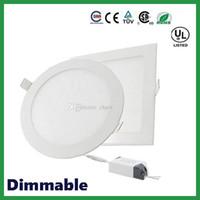 luz led empotrada en el techo regulable al por mayor-El envío libre de DHL regulable alrededor de las luces del panel del cuadrado LED 6W 9W 12W 15W 18W 21W 30W 4-5-6-7-8-9-12 pulgadas ahuecó la luz de techo del LED