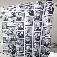 Wholesale Marilyn Monroe Shower Curtains - Wholesale- 180cm*180cm Fashion Sexy Marilyn Monroe Pattern Waterproof Mouldproof Bathroom Shower Curtain with 12 Hooks