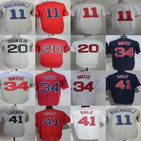 Wholesale hot johns - Hot Sale Cheap Discount 34 David Ortiz 11 Clay Buchholz 20 Kevin Youkilis 41 John Lackey Full Embroidery Logos Boston Baseball Jerseys