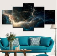 Wholesale Oil Painting Landscapes Dark - 5 Panels Canvas Print Dark Cloudy Sky Painting for Living Room Wall Art Picture Home Decoration Landscape Oil Painting