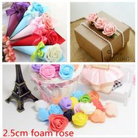 Wholesale Craft Pompoms - Wholesale-Hotsale 100pcs Lovely Foam Rose Handmade Artificial Flower For Wedding Home Decoration DIY Pompom Rosa Scrapbooking Craft Flower