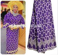 Wholesale Organza Lace Fabric Handcut - Purple Gold African Handcut Organza Lace Swiss Voile Lace fabric Nigeria wedding clothing with stones metallic lurex 5 yards