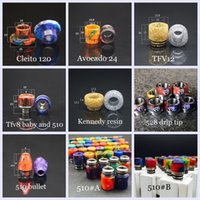 Wholesale drip tips bullets resale online - 10 Styles Cleito Avocado TF12 TFV8 TFV8 Baby Goon Kennedy Bullet Epoxy Resin Drip tip Wide Bore DHL