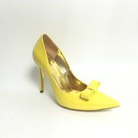 Barato Noite Mulheres Amarelas Sapatos-Amarelo Bowknot Pointed Toe Mulheres Pump Shoes Stilettos Salto Alto Slip-on Sapatos Mulheres Cores Personalizadas Evening Party Shoes