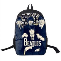 Wholesale Mini Led Cell Phone - Wholesale- Rock Band The Beatles Backpack Led Zeppelin   Pink Floyd Street Rock Backpack Men Women Punk Backpacks For Teenage School Bags