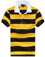 comprar camisa polo amarela venda por atacado-Hot Comprar Moda Pequeno Cavalo Camisas Polo Ocasional dos homens do bordado Perry camisa polo camisa Listrado polos masculina S-XXL Amarelo