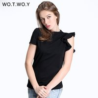 Wholesale Ruffle Sleeve Tops - WOTWOY Spring Off Shoulder Ruffles Cotton T Shirt Women Elastic Short Sleeve Solid Color Black T-shirt Female Tops Soft Slim 301 q0506