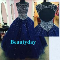 Wholesale Debutante Gowns Tulle - Princess Ball Gown Quinceanera Dresses 2017 Sweet 16 Dresses Beaded Sequins Sheer Neck Debutante Gowns Navy Blue Plus Size Vestidos De 15