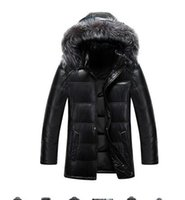 Wholesale Middle Age Men Jacket - The leather jacket in the long thick slim male fox fur detachable cap middle-aged leather coat