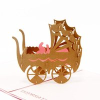 Wholesale pop up art for sale - Group buy Handmade Paper Art Carving D Pop UP Greeting Card Pink Blue Baby Stroller Carriage Birthday Card for Baby Shower