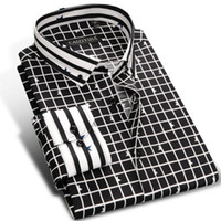 Schwarze Knopf Unten Hemden Großverkauf Kaufen -Großhandels-CAIZIYIJIA 2017 Mens Schwarz / Weiß Kontrast Plaid Casual Dress Shirt Langarm Slim-fit Pentacle Print Taste Unten Baumwolle Shirts