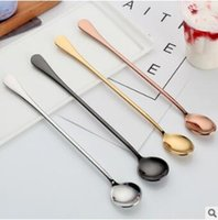 Wholesale Bar Drink Mixes - 8 Styles 24cm Long Handled Coffee Teaspoons Stirring Spoon Stainless Steel Ice Cream Spoon Bar Drink Cocktail Mixing Spoon CCA7683 100pcs