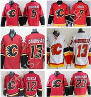 Wholesale Best quality Calgary Flames hockey premier jersey Johnny Gaudreau Sean Monahan Iginla Mark Giordano mens classic game jersey