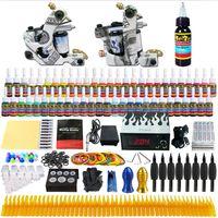 Wholesale Tattoo Warehouse - Solong Tattoo® Complete Tattoo Kit 2 Pro Machine Guns 54 Inks Power Supply Foot Pedal Needles Grips Tips TK252 EU Warehouse Free Shipping