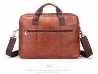 "Wholesale lawyers briefcase - 2017 Business Genuine Leather Men Briefcase Cowhide Men's Messenger Bags 14"" Laptop Business Bag Luxury Lawyer Handbag"