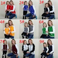 ingrosso ragazzi falsi-ins Autunno e inverno stile baseball False cardigan pullover Outper genitore-figlio per ragazzi e ragazze Family Matching Outfits