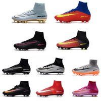 2017 Original Mercurial Superfly V FG Chaussures de football CR7 hommes Chaussures de football Noir Cristiano Ronaldo Haut Haut Bottes de football CR7 Gold Hot Sale