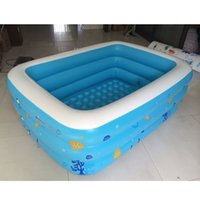 Wholesale Swimming Paddling Pools - Wholesale- 2016 Inflatable Children's Piscinas Large Zwembad Family Havuz Swimming Pool Babys Printed Kids Paddling Pool Size 150*110*50cm