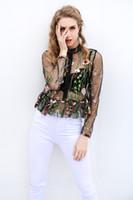 Wholesale Long Sleeves Transparent Tops - Black flower embroidery blouse shirt Women tops blouse chemise femme camisa Transparent long sleeve summer blusas