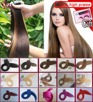 Wholesale double tape extensions - Tape In Human Hair Extensions Skin Weft Tape Hair Extensions 100g 40pieces Brazilian Hair Hablonde Double Sides Adhesive Cheap Free Shipping