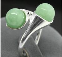 anillo de jade verde plata esterlina al por mayor-Regalo de mujer Joyas Plata Natural Nuevo Diseño dos 6mm Azul Verde Claro Jade 925 Anillo de Plata Esterlina