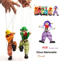 Wholesale Wooden Puppet Marionette - Wholesale-Doll Marionette Puppet Baby toys clown Muppets Green Orange Hand Puppet Tell story shadow Funny Traditions Wooden Toy plush doll