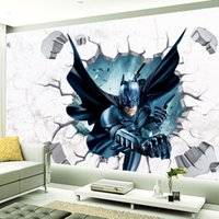 Wholesale Removeable Vinyl - 60*90cm 3D Batman Iron man Cartoon Stickers DIY Art Decal Removeable Wallpaper Mural Sticker for Kids Room KinderGarten