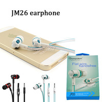 Wholesale Super Quality Headphones - high quality JM26 1.2m 4ft wired earphone super bass hifi noodle stereo music in-ear headphone with mic for mobile earphone with pakcage