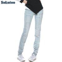 Wholesale Cheap Women Jeans Pants - Wholesale- Women's all match light blue denim jeans Spliced bleach washed vintage pants Trousers cheap price high quality