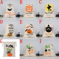Wholesale canvas sacks resale online - 2017 New Halloween candy bag Large Canvas bags cotton Drawstring Bag With Pumpkin devil spider Hallowmas Gifts Sack Bags cm