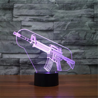 Wholesale Ak47 Lamp - Wholesale- Hot 3D Acrylic Colorful USB Nightlight Creative Children's AK47 Sniper Rifle Christmas Gift LED Table Lamp 3D-TD167