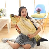 Wholesale Home Decor Dolls - Fish Shape Pillow Cartoon Carp Doll Home Decor Cartoon Sofa Plush Toys Sleeping Bolster Birthday Gift Three Sizes Optional 25ry F R
