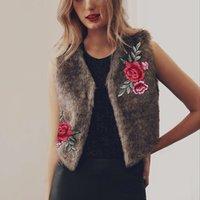 Wholesale Wholesale Rabbit Fur Jackets - Faux Fur Vest Winter 2017 Fashion Slim Floral Emboridery Sleeveless Jacket Furry Vests for Women Artificial Fake Rabbit Fur Coat