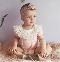 Wholesale 2017 Summer New Baby Girls Romper Sunsuit Infant Toddler Pink Outfit Jumpsuit Tassel One Pieces Rompers Children Clothes Boutique Clothing