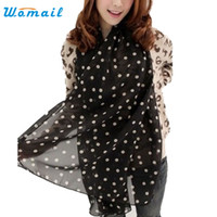Wholesale Stylish Pashmina - Wholesale- Womail Good Deal Good Deal Stylish Girl Long Soft Silk Chiffon Scarf Wrap Polka Dot Shawl Scarve For Women Free Shipping 1pcs