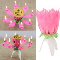 Atacado-2PCS Kids Gift Romantic Musical Lotus Flower Feliz Aniversário Party Gift Music Candle Lights
