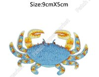 Wholesale Animals Cancer - HIGH QUALITY Zodiac Cancer Blue Crab FULL Embroidered Patch Astrology Sign Craft iron on Animals Badge clothing applique