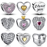 Wholesale Pandora Pink Glass Beads - 100% Authentic 925 Sterling Silver Heart Shape Charm Beads Fit Pandora Charm Bracelet DIY Original Silver Jewelry