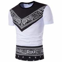 bohemia t shirt toptan satış-Erkekler Için Bohemia Bandana Tişörtleri Yaz Moda Pamuk Paisley Tişörtlü O-Boyun Kısa Kollu Giyim Ücretsiz Kargo