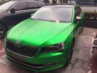 Wholesale Green Chrome Vinyl - Matte Metallic Green Vinyl car wrap film For Car Vehicle styling With Air Release matt chrome Green Car sticker Foil size 1.52x20m roll
