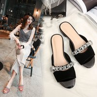 Ladies Slippers Peep Toe Black Pink Suede De couro genuíno cristal casual Flat Summer Slippers Mulheres Slides Sandálias 2017 New Drop Shipping